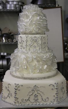 Silver  dress design with pulled sugar ruffles