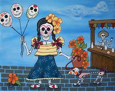 Balloons at the Fair Folk Art Day of the Dead DOD by JEllisonArt