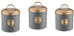 Typhoon Copper Lid Tea Coffee and Sugar Storage Canister Set