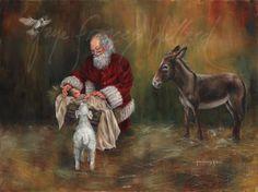 Portrait Artist Gaye Willard Santa Paintings Page Christmas Scenes, Christmas Art, Winter Christmas, Xmas, Christmas Donkey, Christmas Decorations, Father Christmas, Christmas Wishes, Santa Paintings