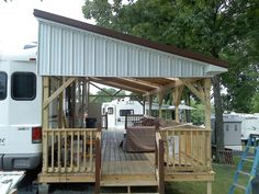 Camper+Deck+Ideas New Deck for camper - Cooley Construction Corp Porch For Camper, Rv Shelter, Shelters, Trailer Deck, Rv Carports, New Deck, Camper Makeover, Trailer Remodel, Rv Living