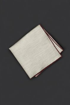 Red Stitched Oatmeal Pocket Square