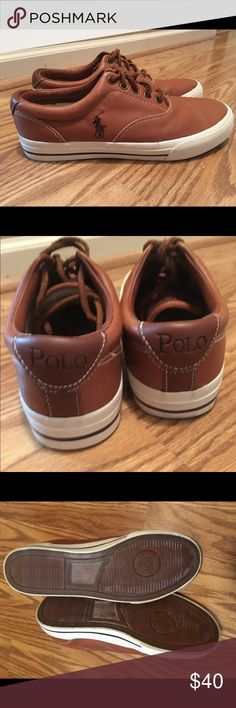 Polo Ralph Lauren men's shoes size 8.5 You are looking at a great pair of men's Ralph Lauren Polo leather shoes in size 8.5. These are brown leather and have only been worn a couple of times. Polo by Ralph Lauren Shoes Sneakers