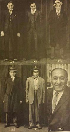 Chicago Outfit legend Tony Accardo throughout the years of his criminal career.