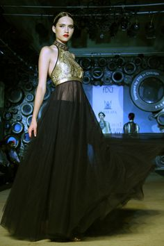 Black and gold from the Suneet Varma Collection.