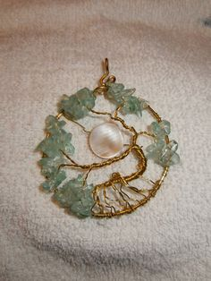 tree of life pendant mother of pearl moon green glass chips