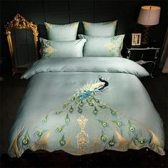Quality Egyptian cotton bed linen set Peacock embroidery bedding sets/bedclothes queen king size duvet cover sheet set with free worldwide shipping on AliExpress Mobile Bed Sets, Bed Linen Sets, Bed Sheet Sets, Cheap Bedding Sets, Queen Bedding Sets, King Size Duvet Covers, Duvet Cover Sets, Cama Queen Size, Peacock Bedding