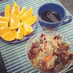 Chinese salad, coffee and orange