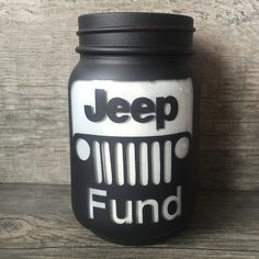 This listing is for Jeep Fund mason jars in various sizes! Does someone you know spend days at a time working on their jeep and always looking for parts? Then they would love a Jeep Fund jar! Auto Jeep, Jeep Jk, Jeep Truck, Mason Jars, Mason Jar Crafts, Mason Jar Bank, Jeep Liberty, Maserati, Ideas