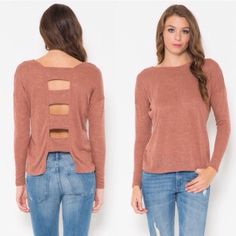 Rust cutout sweater Perfect lightweight sweater matched with denim and your favorite pair of booties!! The color is just gorgeousxxx Sweaters Crew & Scoop Necks