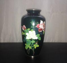 Japanese  Ginbari Cloisonné Vase Enamel and Silver Wire Meji #Japanesevase #CloisonnéVase #homedecor #giftgiving #officedecor