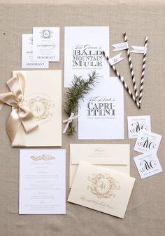 Love these Blue Magpie invitations: http://www.stylemepretty.com/2014/12/04/burlap-letterpress-wedding-invitation/ | Invitations: Blue Magpie - http://www.bluemagpieinvitations.com/