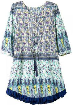 Blue Round Neck Floral Drawstring Loose Dress