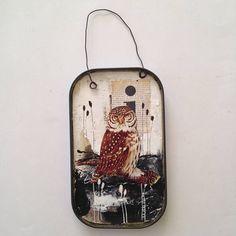 Original Vintage Tin Collage Art Owl