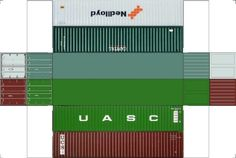 Build Your Own Free Printable 40ft Stack Containers 4 in 1 (HO Scale) #lionelhotrains #hotrainaccessories