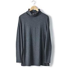 T-shirt col roulé manches longues coton modal R essentiel