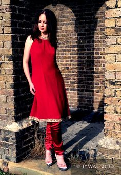Hand Crafted Red Silk Chiffon Sleeveless Fusion Dress by Jywal