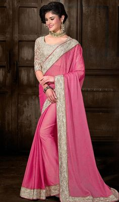 Accentuate your personal appeal with rose pink color shade chiffon sari. Beautified with lace, resham and stones work. #weddingsaree #partywearsari #indianlooksaris