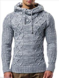 Kapuzen Strick Pullover-Pulli-Norweger Grau Lee Ecosse by Leif Nelson Mode Man, Mens Fashion, Fashion Outfits, Mode Style, Mens Suits, Casual Wear, Men Dress, Knitwear, Winter Fashion