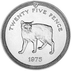 Isle of Man Manx cat 1975 coin