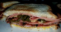 Fried Bologna with bacon, candied jalapenos, american cheese, mayo and mustard. #bold&lively  Wunderrub.net