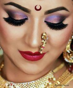 This Indian Bridal Tutorial (Maharashtrian Bridal Look) is coming up tomorrow on. Bengali Bridal Makeup, Indian Wedding Makeup, Bridal Eye Makeup, Bridal Makeup Looks, Indian Bridal Makeup, Gold Makeup, Bride Makeup, Bridal Beauty, Bridal Looks