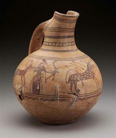 Painted pottery pitcher. Near Eastern. Anatolian, Phrygian. Late Phrygian Period. 699–600 B.C. | Museum of Fine Arts, Boston