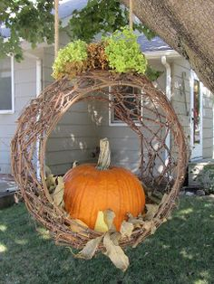My version from the Bachman Idea House Love unusual colored pumpkins . My version from the Bachm Fall Hanging Baskets, Hanging Plants, Faux Outdoor Plants, Plants Indoor, Thanksgiving Decorations, Fall Decorations, Fall Planters, Pumpkin Centerpieces, Autumn Decorating