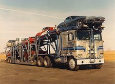 Auto Transport My Kenworth Trucks, Toy Trucks, Transport Pictures, Toy Hauler Trailers, Detroit Cars, Big Ride, Large Truck, Freight Truck, Car Carrier