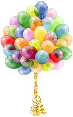 Transparent Balloons Bunch Clipart Image