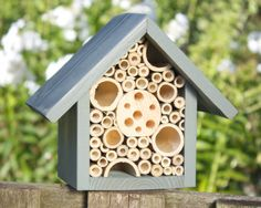 Mason Bee House Single Tier in 'Wild Thyme' by Wudwerx on Etsy, £19.95 shabby chic home interiors for garden chic and ultra cool insect living... easy to make just buty or build a frame , paint in cute pastels , fill with different widths of bamboo and wood , hang in group in tree or shrub area