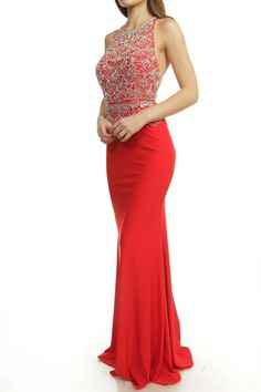 Jeweled Two Piece Illusion Prom Dress