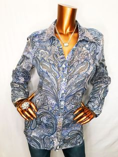 47ed6d18d Chico's 2 or M/L Top Blouse Paisley 3/4 Sleeve Sheer Button Down Shirt  Cotton
