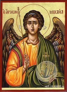 Archangel Michael by Alexandra Kaouki of Crete Orthodox Catholic, Romulus And Remus, Archangel Raphael, Biblical Art, Art Icon, Orthodox Icons, Patron Saints, Angel Art, St Michael