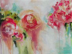 Pink Roses Abstract Floral Original Painting on by lanasfineart, $195.00