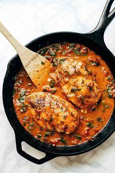 Garlic Basil Chicken with Tomato Butter Sauce recipe. Comfort food, chicken recipe