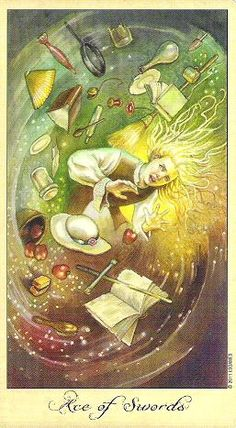 Ghosts & Spirits Tarot- Ace of Swords Poltergeist! What an interesting choice for the Ace of Swords. Poltergeist are thought of as uns. Ace Of Swords, Le Tarot, Male Witch, Tarot Card Meanings, Tarot Card Decks, Tarot Readers, Daily Drawing, Oracle Cards, Archetypes