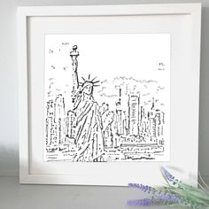 New York mounted print, drawn with a typewriter using only letters and symbols. York, Unique Jewelry, Handmade Gifts, Etsy, Vintage, Home Decor, Kid Craft Gifts, Decoration Home, Room Decor