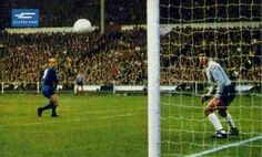 Man Utd 4 Benfica 1 in May 1968 at Wembley. Bobby Charlton puts Man Utd into the lead in the European Cup Final.