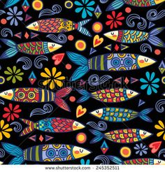 Find Bright Amazing Portugal Pattern Ornamental Sardines stock images in HD and millions of other royalty-free stock photos, illustrations and vectors in the Shutterstock collection. Thousands of new, high-quality pictures added every day. Fish Print, Fish Design, Arte Popular, Whimsical Art, Art Plastique, Fabric Painting, Rock Art, Doodle Art, Art Lessons