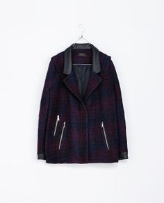 Image 5 of CHECKED JACKET WITH FAUX LEATHER CUFFS from Zara