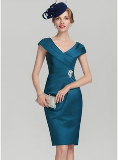 Sheath/Column V-neck Knee-Length Satin Mother of the Bride Dress With Ruffle Beading - Mother of the Bride Dresses - JJsHouse Satin Dresses, Formal Dresses, Bride Dresses, Bridesmaid Dresses, Satin Cocktail Dress, Cocktail Dresses, Ruffle Beading, Groom Dress, Stunning Dresses