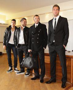 (L-R) Erik Lamela, Pablo Daniel Osvaldo, Federico Balzaretti and Maarten Stekelenburg attend Philipp Plein and A.S. Roma unveil new team kit at Trigoria on November 8, 2012 in Rome, Italy.