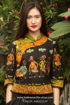 Batik Amarillis' Joyluck 2014 in Batik Wonogiren -Indonesia AVAILABLE at Batik Amarillis webstore www.batikamarilli... ...A Timeless piece with exquisite detailing such as color combos, handmade chinese frog button, fittingly beautiful with the ideal combination of comfort & style
