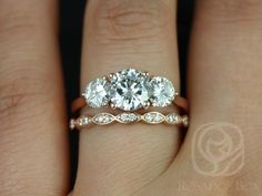 Rosados Box Carla 9&6mm 14kt Yellow Gold Round FB Moissanite and ...