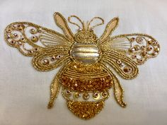 Gold and Metal - Kathleen Laurel Sage Bee Embroidery, Tambour Embroidery, Bead Embroidery Patterns, Butterfly Embroidery, Embroidery Designs, Bead Sewing, Bee Art, Brazilian Embroidery, Gold Work