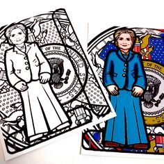 Hilary Clinton Printable Coloring Page Paper Doll with stand by PaperTownToys on…