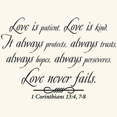 Love is patient god quote vinyl wall art decal sticker-home decor Crazy Love Quotes, Love Quotes For Wedding, Couples Quotes Love, Beautiful Love Quotes, Couple Quotes, Love Quotes For Him, Happy Quotes, Wedding Ideas, Wedding Quotes Bible