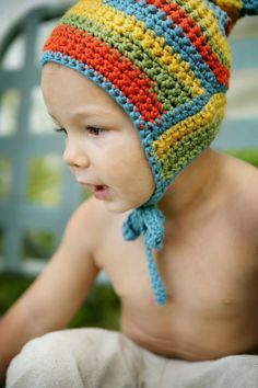 Rainbow Pixie Bonnet - Hand Knit - Eco Friendly - Crochet - Photo Prop - Easter Sale via Etsy