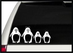 Penguin Family Car Decals / Stickers Stick by signpainterchris for Neil and I Penguin Love, Cute Penguins, Family Car Decals, Stick Figures, Bumper Stickers, Arctic, Feel Better, Jeep, Monogram